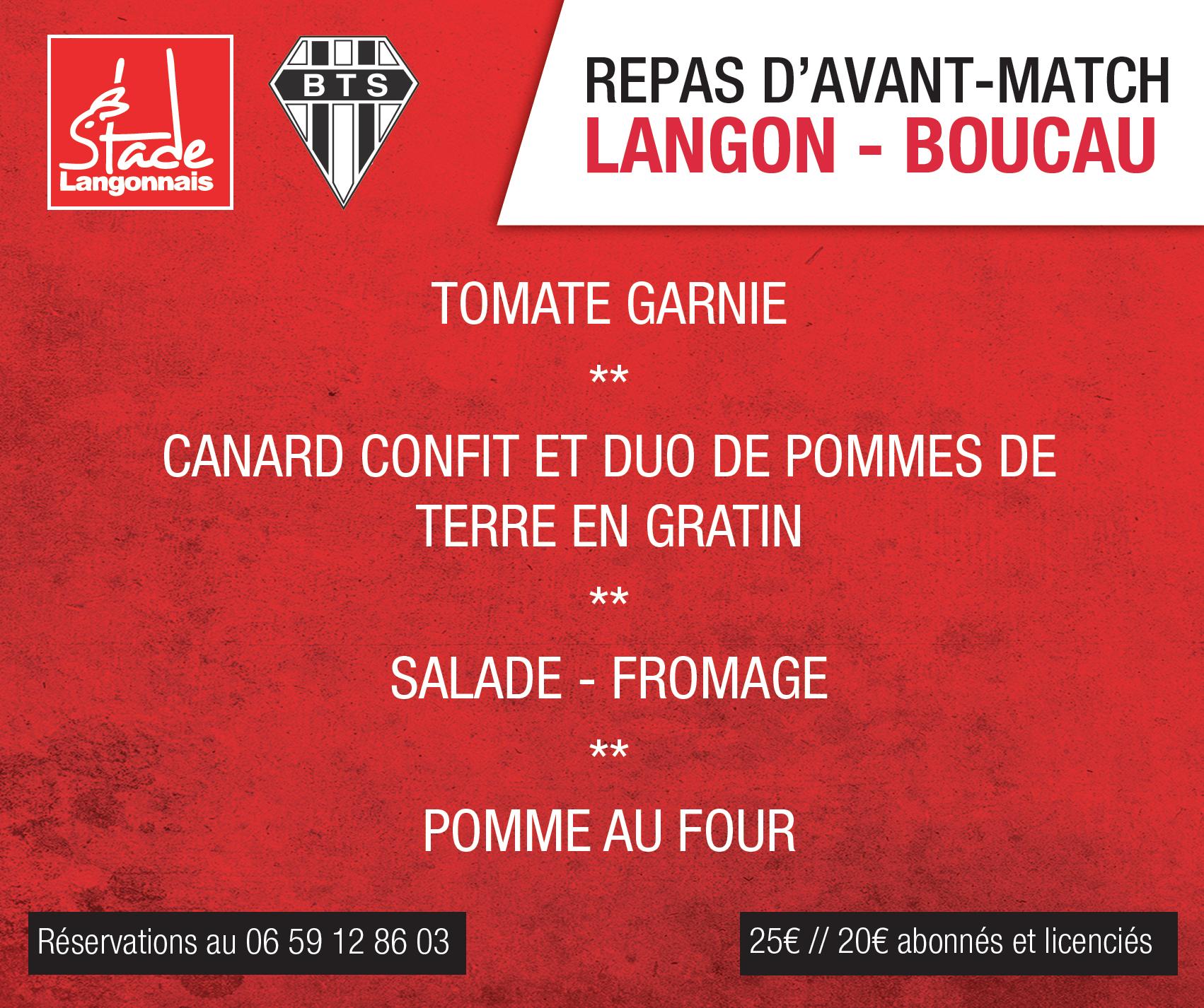 Repas d'avant-match Stade Langonnais – Boucau Tarnos